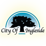 Ingleside TX Logo; Large tree branching out on blue sky day, with stylized text